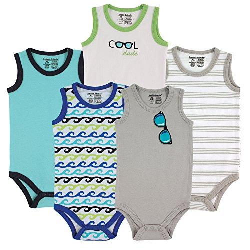 Luvable Friends 5-Pack Lightweight Sleeveless Bodysuits, Boy Sunglasses, 0-3 - Sunglasses Months 3 0