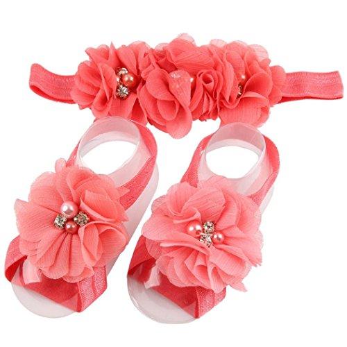 Headband Bare Feet - Elevin(TM) Children Baby Cute Flower Barefoot Sandal Shoes with Headband (Watermelon Red)