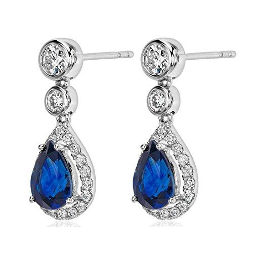2,75Carats Saphir de qualité supérieure et diamant Dangle Boucles d'oreilles pendantes en or blanc 18K