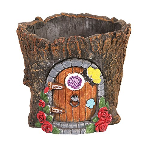 SIGNALS Fairy Door Cement Flower Pot - Garden Gnome House Tree Stump - Tree Planter Stump