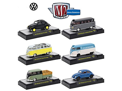 Auto Thentics Volkswagen 6 Cars Set Release 5 IN DISPLAY CASES 1/64 Diecast Model Cars by M2 Machines 32500-VW05