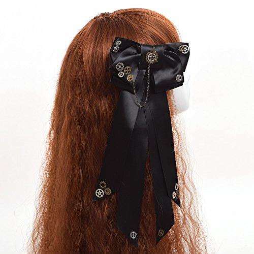 GRACEART Victorian Steampunk Gear Chain Bowtie Hairpin