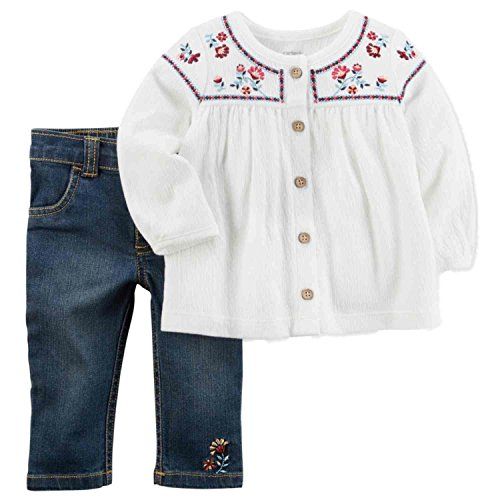 Carter's Baby Girls' 2 Piece Embroidered Tunic and Pants Set 6 (Embroidered Girls Pant Set)