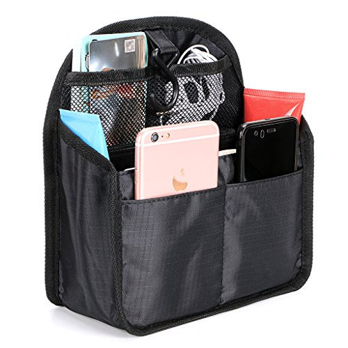 Organiser Mini - BTSKY Universal Backpack Insert Organizer Handbag Organizer Hanging Travel Bag Gadget Organization Multi-Pocket 3 Size (Black-Small)