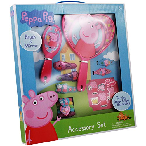 Peppa Pig Brush and Mirror Girls Dress Up Hair Accessory Set