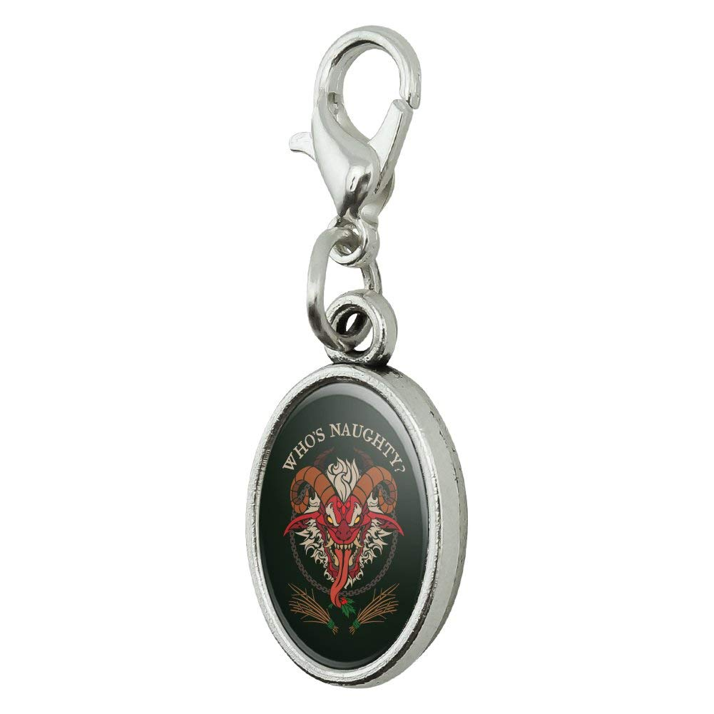 GRAPHICS /& MORE Krampus Whos Naughty Christmas Holiday Antiqued Bracelet Pendant Zipper Pull Oval Charm with Lobster Clasp