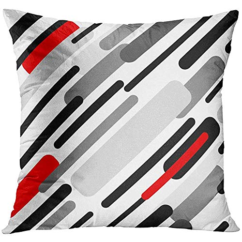 - Throw Pillow Cover Pattern with Diagonal Stripes Abstract 1950S 1960S Motifs Retro Design Collection Black Red Grey White Decorative Pillow Case Home Decor Square 18x18 Inches Pillowcase