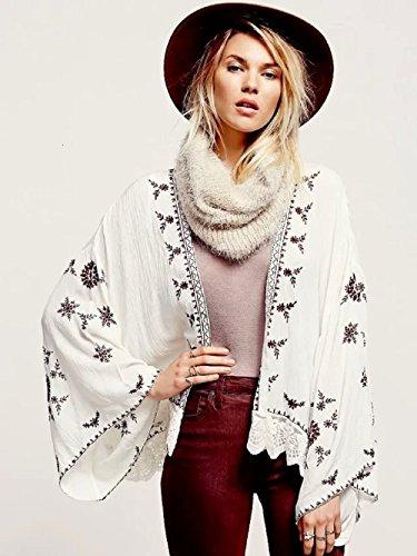 Amazon.com: Womens Holiday Lace Stitching Embroidery Kimono Shirt Cardigan Coat: Clothing