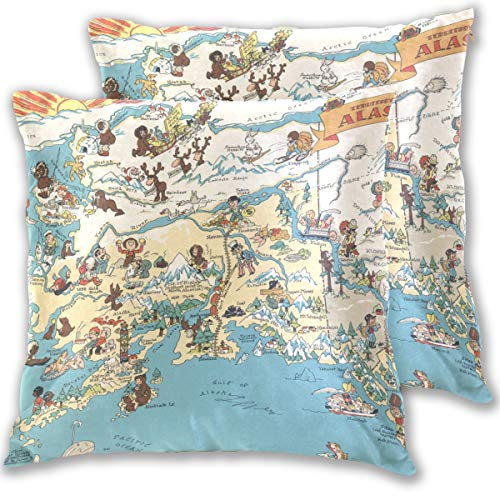 - Vintage 1935 Alaska State Map Cotton Throw Pillow Cover Set of 2,16 X 16 Inch Pillow case