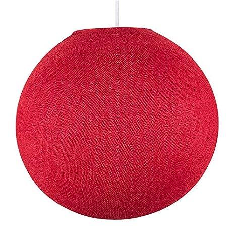 La Case de Cousin Paul Paralume Sfera in Filo di Poliestere Rosso, 100% Handmade - XS-25 cm