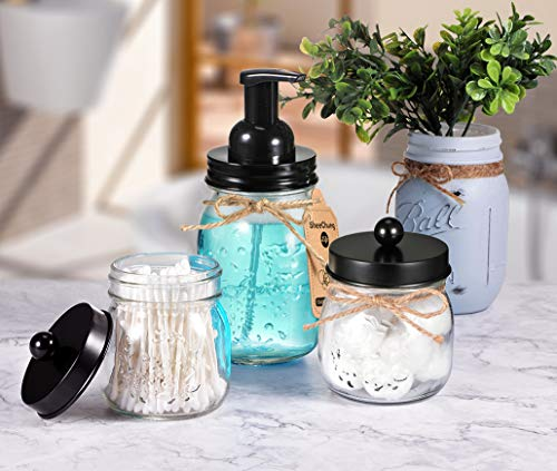 Mason Jar Bathroom Accessories Set - Mason Jar Foaming Hand Soap Dispenser and Qtip Holder Set - Rustic Farmhouse Decor Apothecary Jars Bathroom Countertop and Vanity Organizer (Black)-Patent Pending - ✅ STYLISH STORAGE: Creat depth, texture and a beautiful space by using the mason jar soap dispenser and qtip holder storage jars.It's a cute shabby chic home accessories set you can get!Ideal modern farmhouse decor! ✅ FOAMING HAND SOAP DISPENSER PUMP - Our foaming hand soap dispenser creates luxurious foaming soap with a simple push.DIY the foaming soap by mixing 4 parts water and 1 parts regular soap if you like.Eco-friendly for the environment as well as your household budget ✅ DECORATIVE QTIP HOLDER - The small mason storage jars are an attractive way to organize items like Q-tips, cotton balls, flossers, hair bands or any other bathroom necessities and accessories.Please kindly note:The lid does not screw onto the jar, so it comes off very easily - bathroom-accessory-sets, bathroom-accessories, bathroom - 51aelF7e%2B3L -