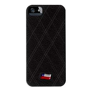 Stylish Black Leather Flag of Chile Matt abrigo lleno carcasa iPhone 5 de UltraFlags