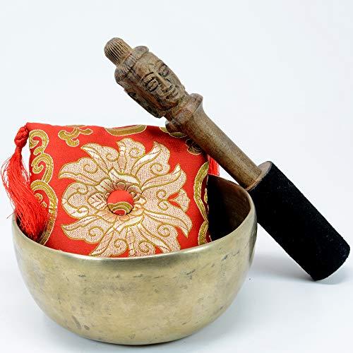 5 Inch Diameter Himalayan Pattern Collectible Flat Base Himalayan Singing Bowl with Buddha carving - Big Buddha Flats