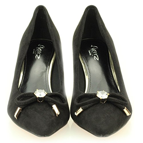 Mujeres Señoras Tarde Cortes Casual Mediano Kitten Tacón Sandalias Zapatos Tamaño (Negro, Granate) Negro