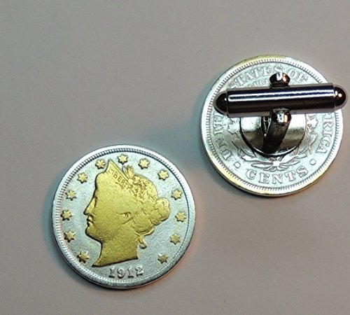 Old U.S. Liberty Head nickel- 2 Toned(Uniquely Hand Done) Gold on Silver coin cufflinks for men - men's jewelry men's accessories for him groomsmen by J&J Coin Jewelry