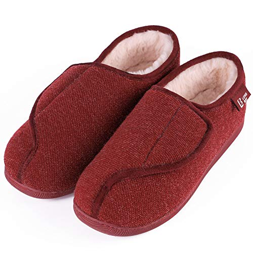 LongBay Women's Furry Memory Foam Diabetic Slippers Comfy Cozy Arthritis Edema House Shoes (11 B(M) US, Wine Red) -