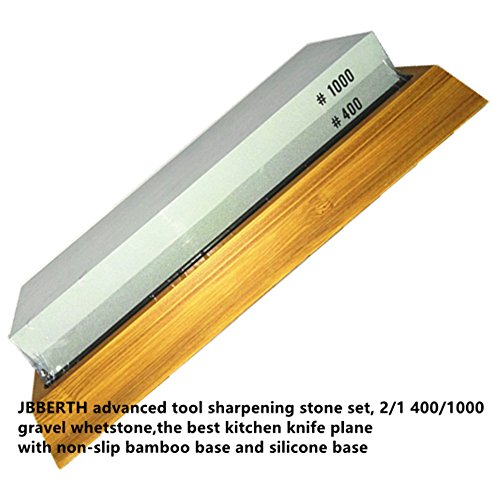 JBBERTH Premium Knife Sharpening Stone Kit, 2 Side 400/1000 Grit Whetstone, Best Kitchen Blade Sharpener Stone with Non-Slip Bamboo Base and Silicone Base Included - Included Bamboo Blades