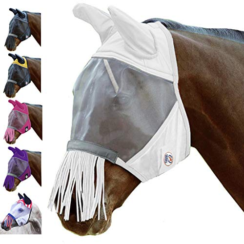 Derby Reflective Fly Mask with Ears & Nose Fringes - All Sizes - 5 Appealing Colors - 1 Year Warranty (White, Large) -