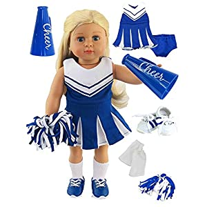 Blue Cheerleader Outfit Cheerleading Uniform with Dress, Bloomers, Poms, Megaphone, Socks, and Shoes | Fits 18″ American Girl Dolls, Madame Alexander, Our Generation, etc. | 18 Inch Doll Clothes