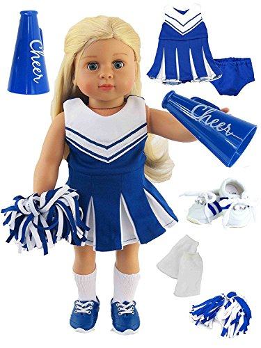 Blue Cheerleader Outfit Cheerleading Uniform with Dress, Bloomers, Poms, Megaphone, Socks, and Shoes | Fits 18