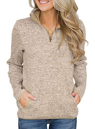AlvaQ PulloverSweatshirt for WomenPlus Size QuarterZipperLongSleeveFall TunicTopswithKangarooPocket Khaki 2X ()