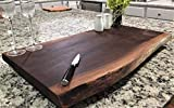 Black Walnut Extra Large, Gorgeous, Full-of-Character, Forest-to-Table Solid Double Live Edge Wood Charcuterie/Appetizer/Dessert/Grazing/Serving Board. 100% USA Handcrafted. 27 x 15 x 1.25''