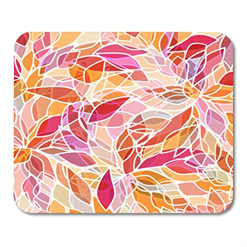 Semtomn Gaming Mouse Pad Orange Pattern Abstract Pink Petals Red Flower Floral Spring 9.5