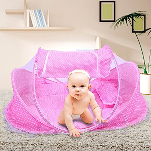 SINOTOP Baby Travel Bed Portable and Soft Baby Travel Bed Baby Bed Folding Baby Crib Mosquito Net Baby Cots for 0-18 Month Baby (Pink) - Baby Cot Mattress