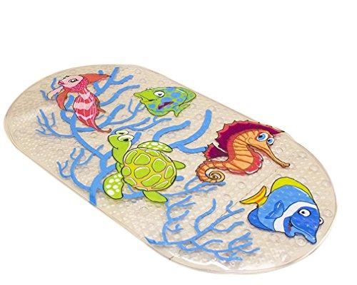 Kauftree Baby kinder Badematte Badteppich Badewannenmatte Antirutsch Rutschfest Cartoon mit Saugnäpfe für Badewanne (#1 Meer)