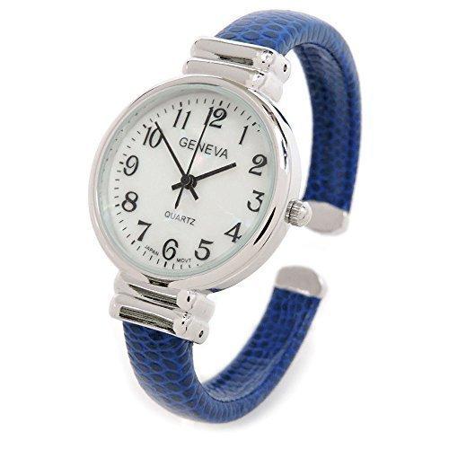 (Blue Snake Style Band Slim Case Geneva Women's Bangle Cuff Watch)