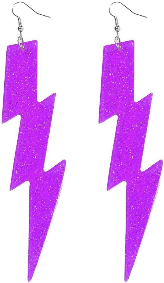 Neon Purple Lightning Bolt Earrings