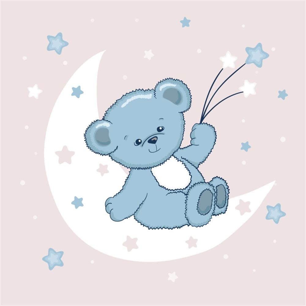 8x8ft Cartoon Cute Grey Bear Backdrop Polyester Cute Bear Holding Stars Leaning On The White Moon Shiny Starry Sky Illustration Photography Background Boy Baby Shower Party Backdrop Boy Portrait