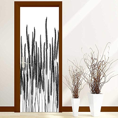 Door Murals Stickers Wall Decals Collection Monochrome Tall Herbs Plants Hand Drawn Style with Small Fluffy Spot Leaves or Decoration-Heat Control, W38.5 x H79 inch