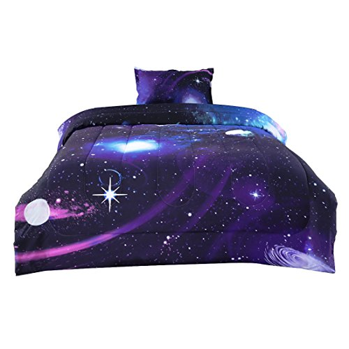 uxcell Twin 2-Piece Galaxies Purple Comforter Sets - 3D Space Themed - All-Season Down Alternative Quilted Duvet - Reversible Design - Includes 1 Comforter, 1 Pillow Case