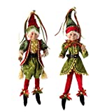 """RAZ Imports - Botanical Garden Theme - 16"""" Red, Gold and Green Decorative Elves (Both Colors)"""