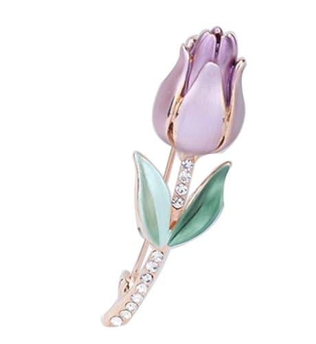 44b2a5c2e4a7 Sojewe mujeres Classic Rhinestone Rose chapado en oro morado rosa broche  Pin aniversario o regalo de boda  Amazon.es  Joyería