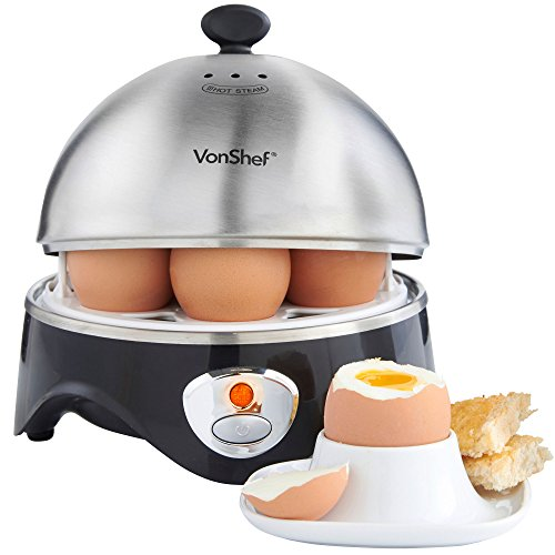 VonShef 7- Egg Electric Cooker Stainless Steel with Poacher & Steamer Attachment by VonShef (Image #2)