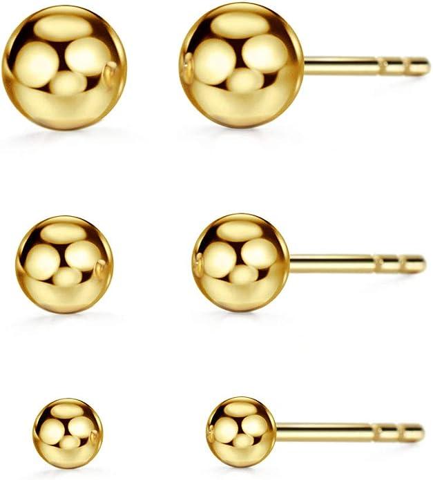 Ball earrings 345 mm gold plated 750 18 k studs