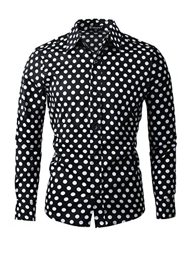 uxcell Men Polka Dots Button-Front Textured Fitted Dress Shirt Black White L