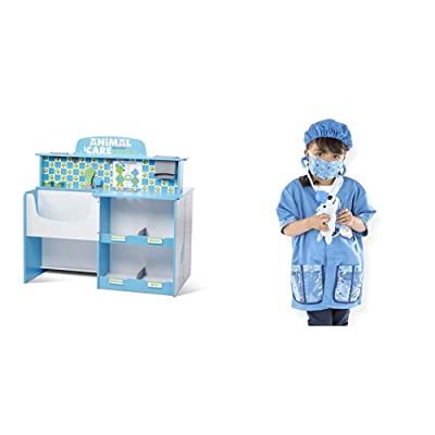 "Melissa & Doug Animal Care Veterinarian & Groomer Wooden Activity Center (Best for 3, 4, 5 Year Olds and Up) & Veterinarian Role-Play Costume Set, Pretend Play, 17.5"" H x 24"" W x 0.75"" L: Toys & Games"