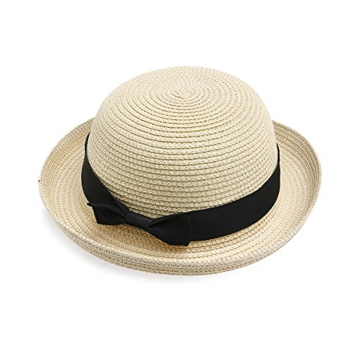 - NUOLUX Fashion Women's Girls Bowknot Roll-up Wide Brim Dome Straw Summer Sun Hat Bowler Beach Cap (Beige)