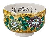 Kutani Yaki Yoshidaya Peony Porcelain 4.7inch Matcha Bowl