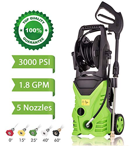 High Pressure Power Washer 3000 PSI 1800W Electric Pressure Washer,Rolling Wheels High Pressure Professional Washer Cleaner Machine+ (5) Nozzle Adapter