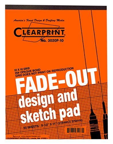 Clearprint 3020 Bond Pad with Printed Fade-Out 10x10 Grid, 20 lb., 8-1/2 x 11 Inches, 50 Sheets, White, 1 Each (937811P1) by Clearprint