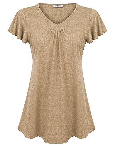 Nomorer Ladies Flair T Shirt Short Sleeve, V Neck Dressy Top Feminine Fit and Flare Ruched Knit Tshirt Tops (Beige L) ()