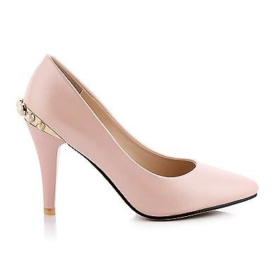 Odomolor Damen Ziehen auf Spitz Zehe Mittler Absatz Nubukleder Rein Pumps Schuhe, Rot, 33