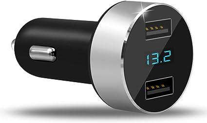 Alivier Cargador de Coche de Carga Rápida, USB Dual DE 4,8 A, Pantalla LED, Detector de Voltaje de Coche, para iPhone X876sPlus, iPad Air 2Mini