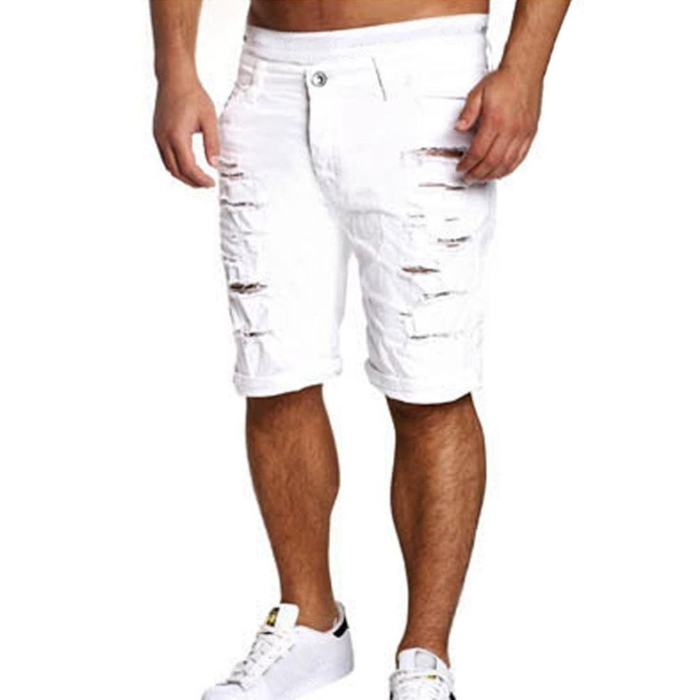 HOT SALE ! vermers Men's Casual Jeans Destroyed Knee Length Hole Ripped Pants (XL, White)