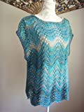 Handknit Blue Lacy Cap Sleeve Top Ladies Size Med