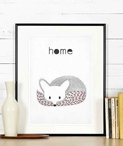 Scandinavian poster, fox, minimalist design, housewarming decor, retro art poster, home, A3